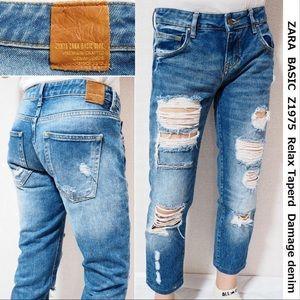 Zara basic distressed denim jeans 100% cotton 2